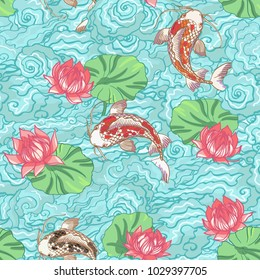 Realistic detailed hand drawn tile pattern of a black and golden koi carp fish swim in pound, lotus flower and leaf, water waves, foam. Graphic tattoo style art of traditional symbol. T-shirt print.