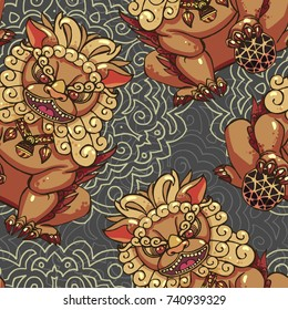 Realistic detailed hand drawn tile pattern of Chinese foo dog guardian statue and abstract round element background. Protection symbol. Colorful graphic tattoo style image. Clothes, paper print.