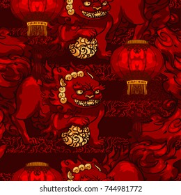 Realistic detailed hand drawn tile pattern of stylized chinese foo dog guardian statue, chinese paper lantern. Protection symbol. Colorful graphic tattoo style image. Clothes, paper print.