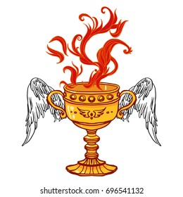 Realistic detailed illustration of holy grail cup with pair of spread wings and burning fire. Graphic tattoo style colorful illustration. Design element for t-shirt print.