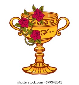 Realistic detailed illustration of holy grail cup with blooming roses with leafs, thorns. Graphic tattoo style colorful illustration. Design element for t-shirt print.