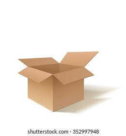 Realistic detailed open cardboard box. Point of view from the side. Isolated on a white background. Vector illustration.