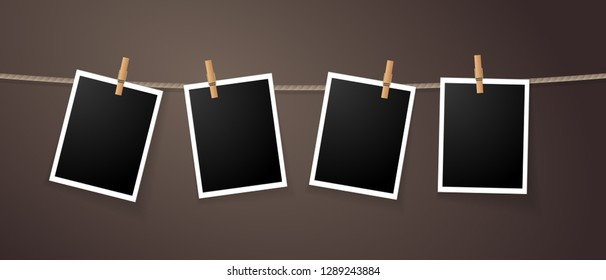Realistic detailed photo icon design template. Photo frames hanging on the rope with clothespin