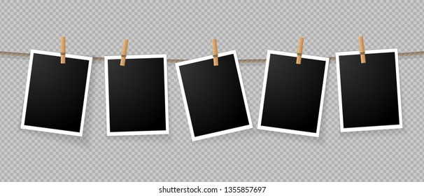 Realistic detailed photo icon design template. Photo frames hanging on the rope with clothespins isolated on transparent background
