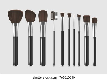 Realistic Detailed Professional Cosmetic Brushes Narrow Set Fashion Female Accessory Design Element Beauty Makeup Elements Isolated On Grey Background. Vector illustration