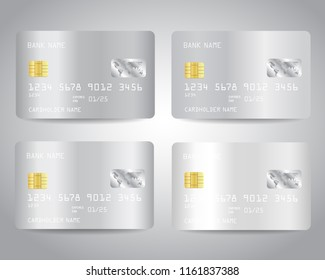 Realistic detailed silver credit cards set with abstract white chrome metallic gradient design background. White, silver colors. Vector illustration EPS10