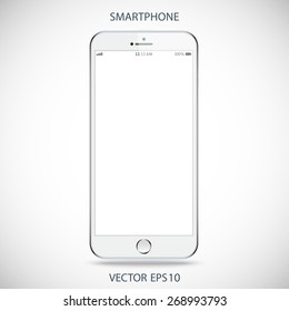 realistic detailed silver smartphone in iphone style with touch screen isolated on grey background. vector illustration eps10