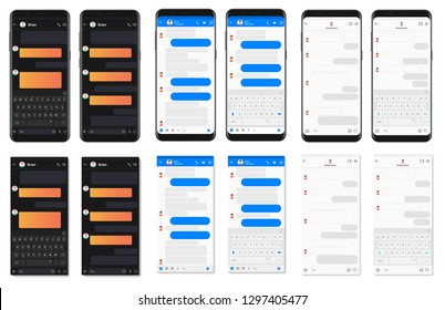 Realistic detailed smartphone chatting app template bubbles collection. Social network messenger dialogues composer vector illustration.