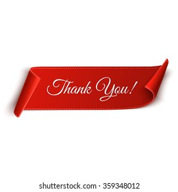 Realistic detailed thank you curved paper banner. Ribbon. Vector illustration