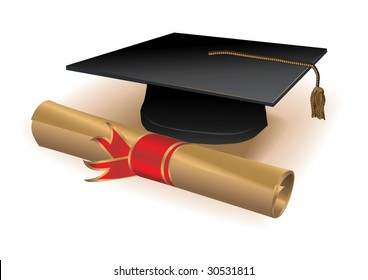 Realistic detailed vector diploma.Only linear gradients used.