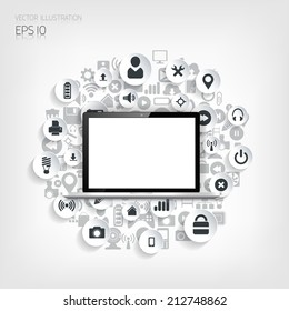 Realistic detalized flat laptop with application icons.