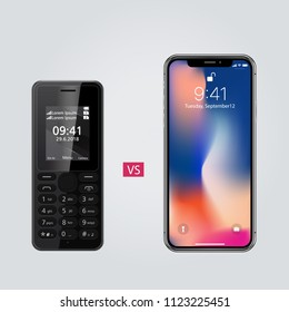 Realistic device mockup, new smartphone vs old simple phone, vector illustration