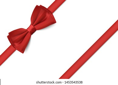 Realistic different red ribbon bows set, vector design element illustration