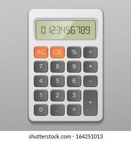 Realistic digital calculator vector illustration isolated