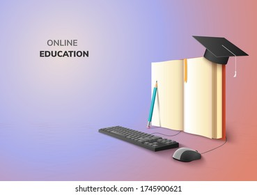 realistic Digital Online concept. Education Application learning on gradient website background. decor by book lecture pencil  computer mouse keyboard Graduation hat. 3D vector Illustration copy space