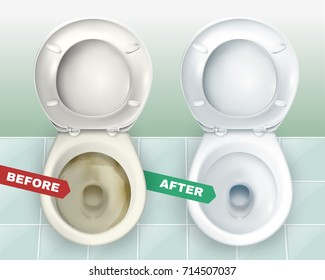 Realistic dirty and clean toilets composition representing two lavatory bowls before and after applying toilet bowl cleaner vector illustration