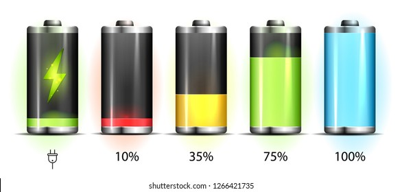 Realistic discharged and fully charged battery smartphone - vector infographic. Isolated on white background