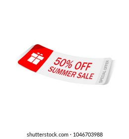 Realistic discount red tag for sale promotion.