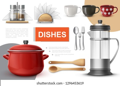 Realistic Dishes And Tableware Composition
