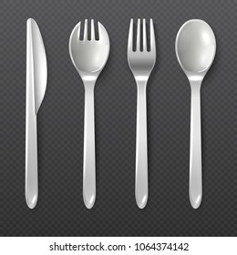 Realistic disposable white plastic spoon, fork and knife vector isolated cutlery. Illustration of plastic tool for dining, tableware knife fork and spoon