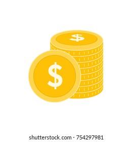 Realistic Dollar Coin Vector Icon Design Template. Gold Coin Stack vector Illustration.