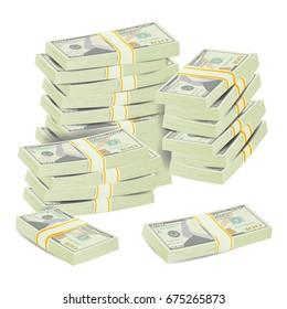 Realistic Dollar Stacks Vector. Banknotes. Money Bill Isolated Illustration.