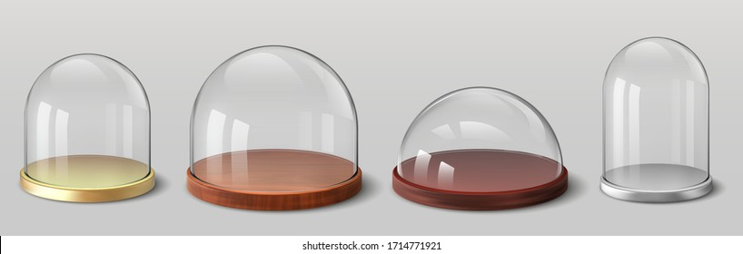 Realistic domes. 3D spherical and hemispherical glass cover for souvenirs, kitchen glassware utensils, exhibition display case. Vector set protection container with wood tray