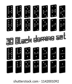 Realistic Dominoes full set 28 3D flat pieces for game . Black collection. Abstract concept graphic element, domino effect gaming icons set , Vector illustrations