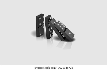 Realistic dominoes on a white background