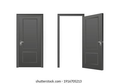 Realistic door for decorative design. Furniture vector illustration set. Office furniture. Realistic 3d sign. Isolated vector illustration.
