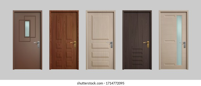 Realistic doors. 3D wooden home entry front doors, white and brown office inside entry. Vector set isolated illustration entrance door on white background