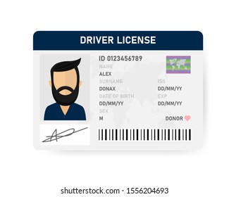Realistic driver license of men on white background. Vector illustration.