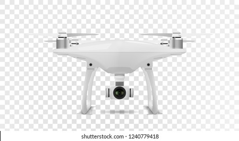 Realistic drone quadcopter on transparent background. Vector eps10.