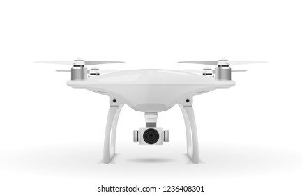Realistic drone quadcopter on white background. Vector eps10