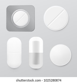 Realistic Drugs Pack. Set Of Tablets Blisters. EPS10 Vector