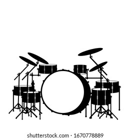 realistic drum kit silhouette icon isolated on white background