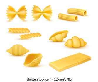 Realistic dry macaroni various kinds set, pasta assortment, italian cuisine, pasta, farfalle, conchiglie, rigatoni, fusilli, gnocchi, lasagne, vector illustration isolated on white background
