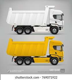 Realistic Dump Truck vector template. White and yellow cargo dump truck. Industrial dumper vehicle mockup