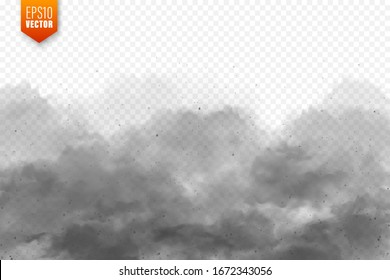 Realistic dust clouds. Sand storm. Polluted dirty air, smog. Vector illustration.