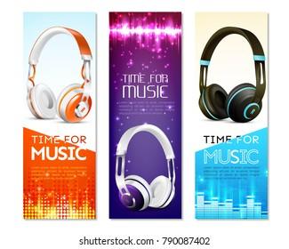Realistic Earphones Vertical Banners