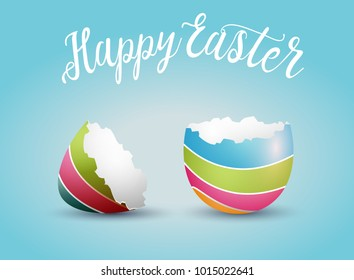 Realistic Easter egg shell, isolated on blue background. Happy Easter concept. Vector illustration