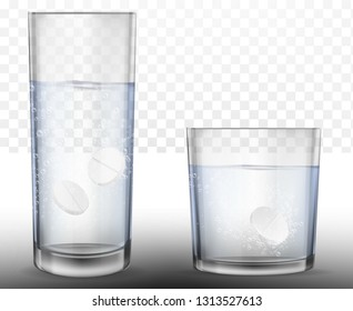 Realistic effervescent tablets in glass of water. Vector realistic effervescent pill with bubbles dissolving in glass of water.