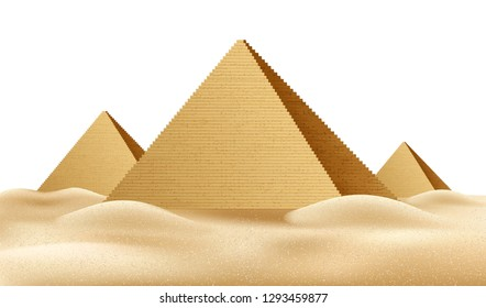 Realistic Egypt pyramids. Famous African landmark, historical place in Giza. Egyptian pharaoh tomb, Cairo touristic center, travel destination. Ancien architecture in sand dunes. Vector illustration
