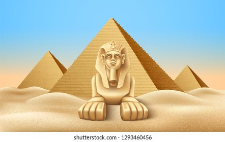 Realistic Egypt pyramids with sphinx. Famous African landmark, historical place in Giza. Egyptian pharaoh tomb, Cairo tourism and travel destination. Ancien architecture in sand dunes. Vector