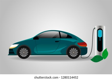 Realistic electric car charging at the charger station.Electromobility e-motion concept. Vector illustration