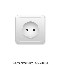 Realistic electric outlet. Power socket. Vector illustration.