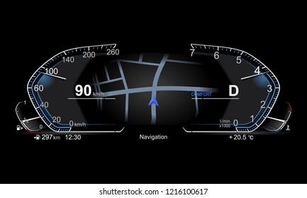 realistic electronic car dashboard.