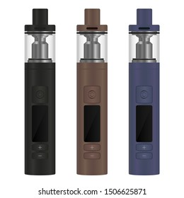 Realistic electronic cigarette concept. Box mod with a tank atomizer. 3 color options. Vector illustration EPS10.