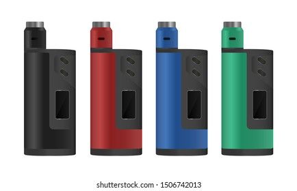 Realistic electronic cigarette concept. Box mod and dripping atomizer. 4 color options. Vector illustration EPS10.