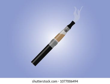 Realistic Electronic cigarette vector illustration with vapor